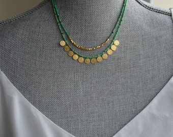 Short double strand gold and turquoise necklace - Bohemian turquoise necklace - Gold coin necklace - Bright turquoise necklace
