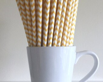 Yellow Chevron Paper Straws Party Supplies Party Decor Bar Cart Cake Pop Sticks Mason Jar Straws  Party Baby Shower Graduation