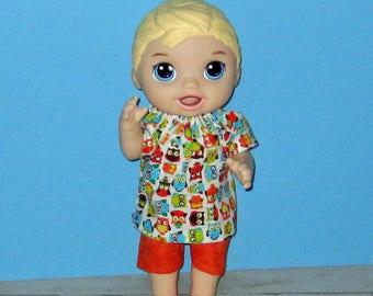 Snackin Luke, Baby Alive, Baby Alive Doll Clothes, Owl Set, Boy Doll Clothes, 12 13 inch Doll Clothes,Outfit Sweet Spoonfuls