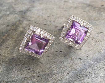 Amethyst Earrings, Natural Amethyst, Vintage Amethyst Earrings, Square Stud, Vintage Earrings, Antique Earrings, Purple Diamond, Pure Silver