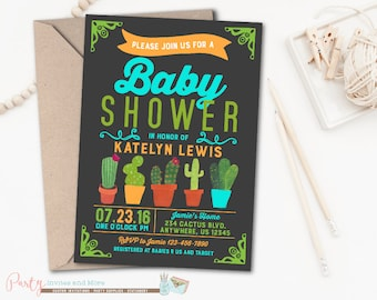 Baby Shower Invitation, Cactus Baby Shower Invitation, Cactus Invitation, Fiesta Baby Shower Invitation, Fiesta Invitation, Southwest
