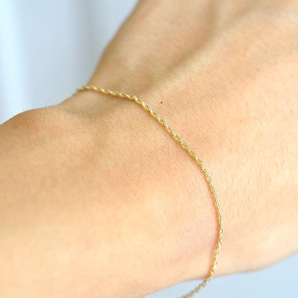 14K Gold Chain Bracelet Delicate Gold Bracelet Minimum Jewelry
