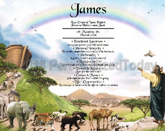 Noah Name Meaning Origin Print Name Personalized Certificate 8.5 x 11 Inches Custom Name Bible Story Art For Kids Children's Religious Print