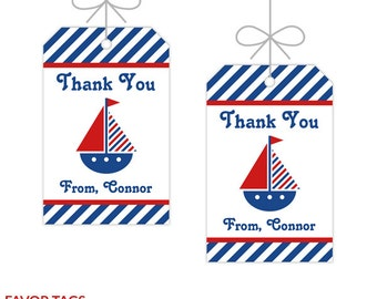 Nautical Party Favor Tags, Boy Baby Shower, Printable Birthday Decorations, Instant Download, Editable Text, Personalize with Adobe Reader