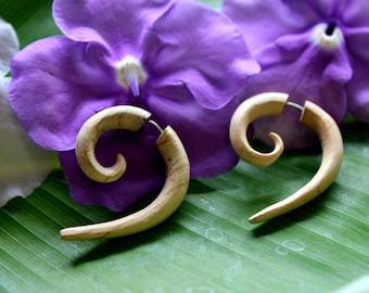 Tamarind Wood, Fake Gauges Earrings, Tribal style, Hand Carved, Wood Earrings, Tribal Expander, Split, Organic