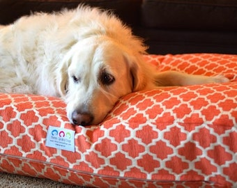 Piper Dog Bed * Small * Signature Hayden * Orange is the New Pink * Geometric Chenille * Personalize * Custom Pillow Cover * TSD