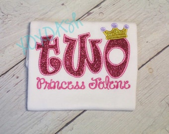 Girls Sparkly Glitter Princess Birthday Shirt with NAME--ONE or TWO--Embroidered shirt or bodysuit