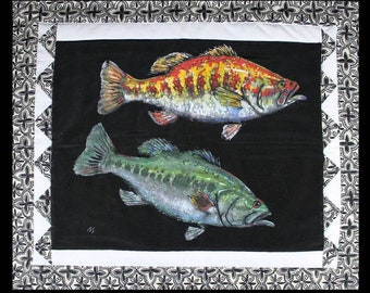 """Warm and Cool Bass Wall Hanging Art Hand Made on cloth 24"""" X 28"""" FISH Painting Ready to hang by Barry Singer"""