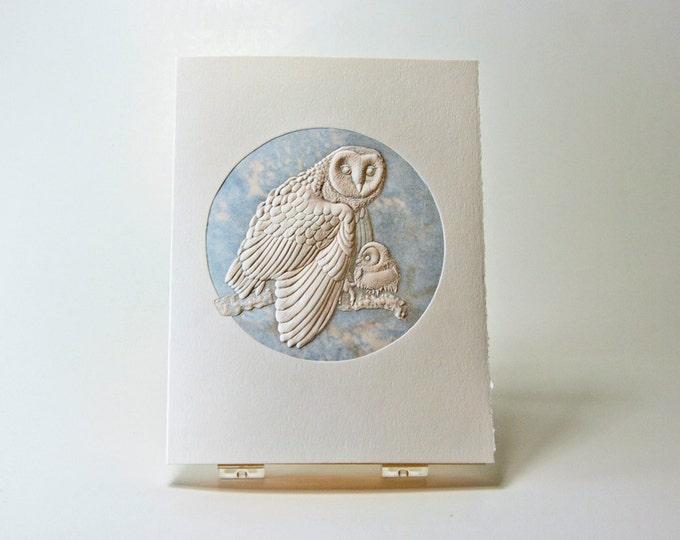 Barn Owl Card. Baby Shower. Birthday. Letterpress. Embossed. Single card. Blank inside.