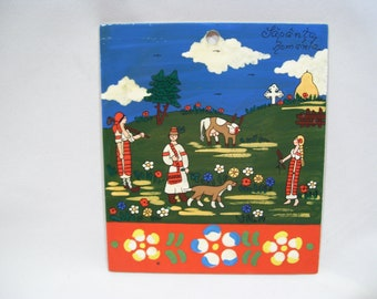 Romania Decorative Folk Art Painted Romanian Folk Art Colorful Glossy Painted Wall Art Bohemian