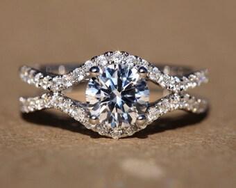Split Open Double Shank -1.20 carat Round - Diamond Engagement Ring 14K white gold - Weddings- Luxury- Brides - Bp028
