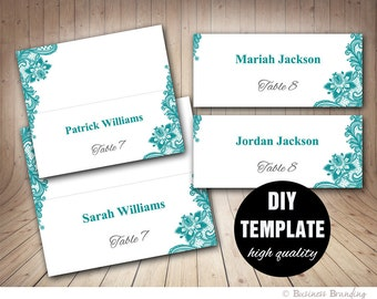 Wedding Lace Place cards Template Foldover,DIY Teal Place card,Instant Download,Teal and grey Printable Seating Placecards.Teal Placecards