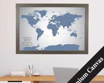 CANVAS Personalized Blue Ice World Travel Map  - Push Pin Travel Map - Canvas World Map - Map Printed on Canvas - Cotton Anniversary Gift
