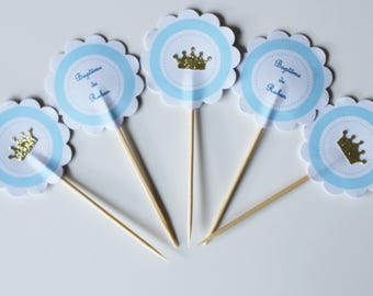 10 cupcakes (cupcake toppers) toppers - gold prince Crown-custom baptism birthday theme