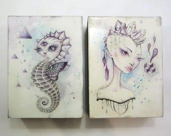 Mini Art Blocks, crystals, boho art, seahorse, original art, mini painting, watercolour painting, art by phresha, gift ideas, trippy art