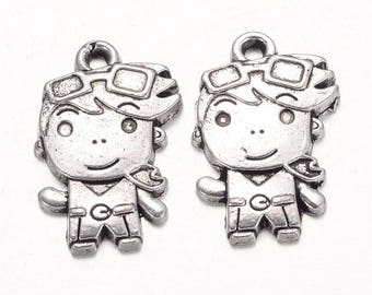 2 small 21 mm silver plated boy charm