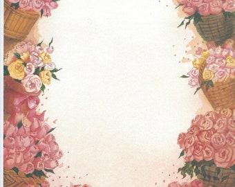 Baskets of Roses ~ Glad Tidings ~ 8.5 x 11 Scrapbook Paper