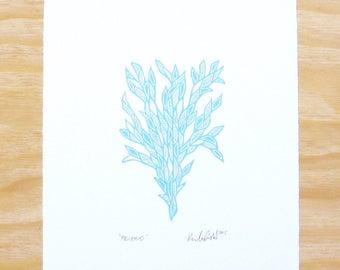 """Woodblock Print - """"Friend"""" Sky Blue Plant - Printmaking"""