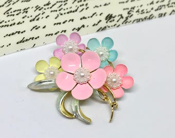 Enamel  Flower Multicolor Brooch