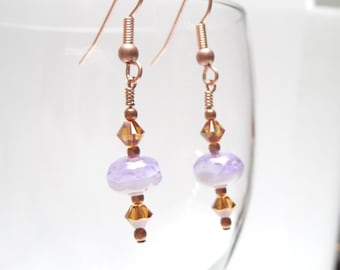 SALE Lavender and Copper Czech Glass Dangle Earrings