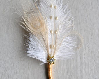Gold Groom boutonniere Ostrich Feather Bridal Ivory Great Gatsby 1920s groomsmen boutonnire  wedding bride feathers boutonniere button hole