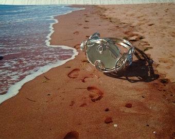 Sea Glass Ring (9) Sea Glass Jewellery, white frosted SeaGlass Geniune SeaGlass, Beach Wedding Jewelry, PEI SEA GLASS