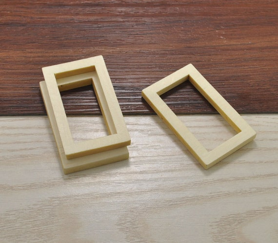 20pcs wood craft,rectangle wooden frame accessories,rectangle wood ...