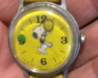 1958 Yellow Snoopy Watch - Snoopy Plays Tennis - It Works! - All Original - Some Cosmetic Condition Issues