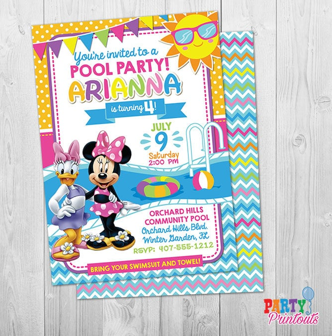 minnie mouse pool party invitation minnie pool party