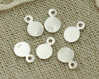 20 of 925 Sterling Silver  Round Tag Charms 5mm :th2140