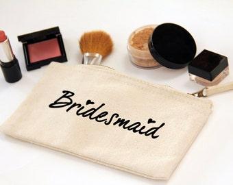 Bridesmaid Make-up Bag, Wedding Favour, Canvas, Zipper