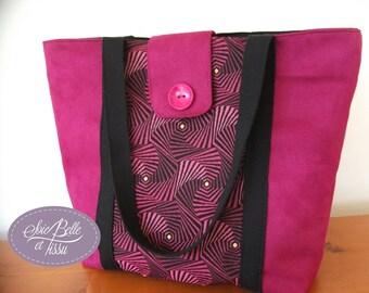 grand sac à main forme cabas spécial rentrée avec trousse, en suédine rose prune et tissu jacquard français géométrique