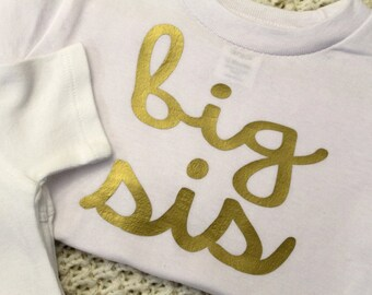 Big Sis- gold vinyl iron-on heat transfer appliques- LETTERING ONLY
