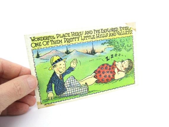 Vintage 1930s Comic Risqué Couple Linen Postcard