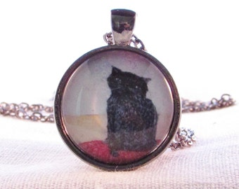 Black Cat - Original Art - Unique Necklace - Lucky Kitty Pendant - Handmade Wearable Art - Gift for Cat Lover - Birthday Gift for Friend