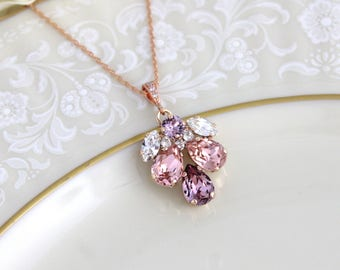 Rose gold necklace, Bridal necklace, Bridal jewelry, Swarovski necklace, Blush crystal necklace, Bridesmaid necklace, Wedding necklace