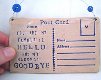 My Favourite Hello- Ceramic postcard with vintage buttons. Made in Wales, UK. Navy Royal Blue. Free UK P&P