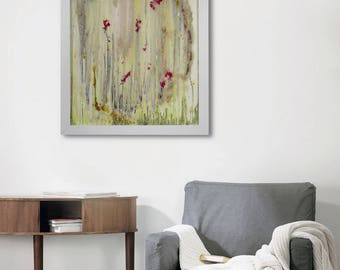 Unique Wall Art, Abstract Painting, Original wall art, Glass Art, Poppy Fields, Poppy Wall Art, Abstract Wall Art, Original Painting, Framed