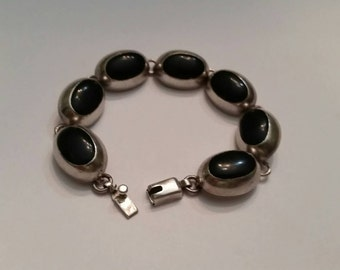 Mexican Silver Bracelet  Mexico Black Stone Inlay Sterling 32 gr
