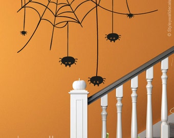 Halloween Wall Decal, Spiders Wall Decal, Spider Web Halloween Wall Sticker, Spiders Wall Sticker Halloween Decor for Home Living Room