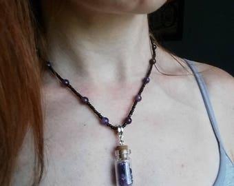 Amethyst Wish jar necklace