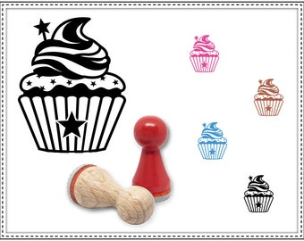 Rubber stamp CUPCAKE WITH STARS Ø 15 mm