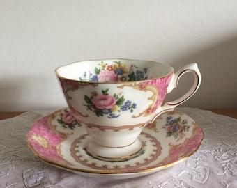 Vintage bone china royal albert lady carlye pink floral afternoon tea cup and saucer