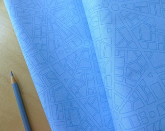 Barcelona City Map Sky Blue - Zen Chic for Moda Brigitte Heitland - Half Yard - Modern Quilting Sewing Crafting Cotton Fabric
