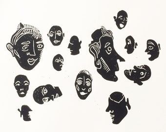 Sea of Faces Ink Print