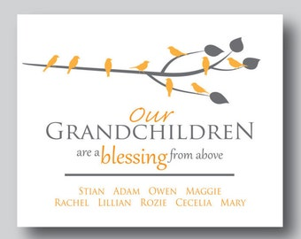 Grandchildren Tree, Personalized Grandchildren Gifts, Grandchildren Wall Art, Grandma Family Tree, Grandparents Gifts, Grandma Picture Gift