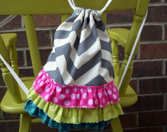 Custom Toddler Size Grey Chevron Drawstring Backpack