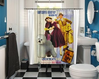 Bichon Frise Art Shower Curtain, Dog Shower Curtains, Bathroom Decor - Love in the Afternoon Movie Poster by Nobility Dogs