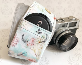 DSLR Minky Camera Strap, Padded with Lens Cap Pocket, Nikon, Canon, DSLR Photography, Photographer Gift - Bogo Blue with Gray