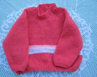 Vintage Gorgeous Hot Pink Jumper/Sweater Hand Knitted for a Girl Aged around 1-2  years.